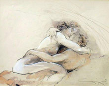 Water colour painting of couple making love